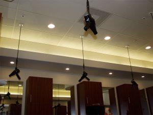4 blowdryers in ceiling
