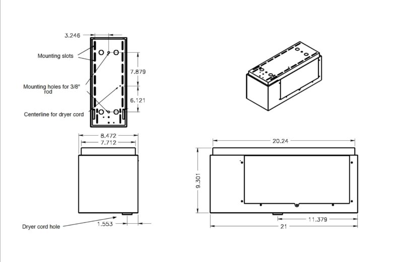 Suspended installation kit dimensions