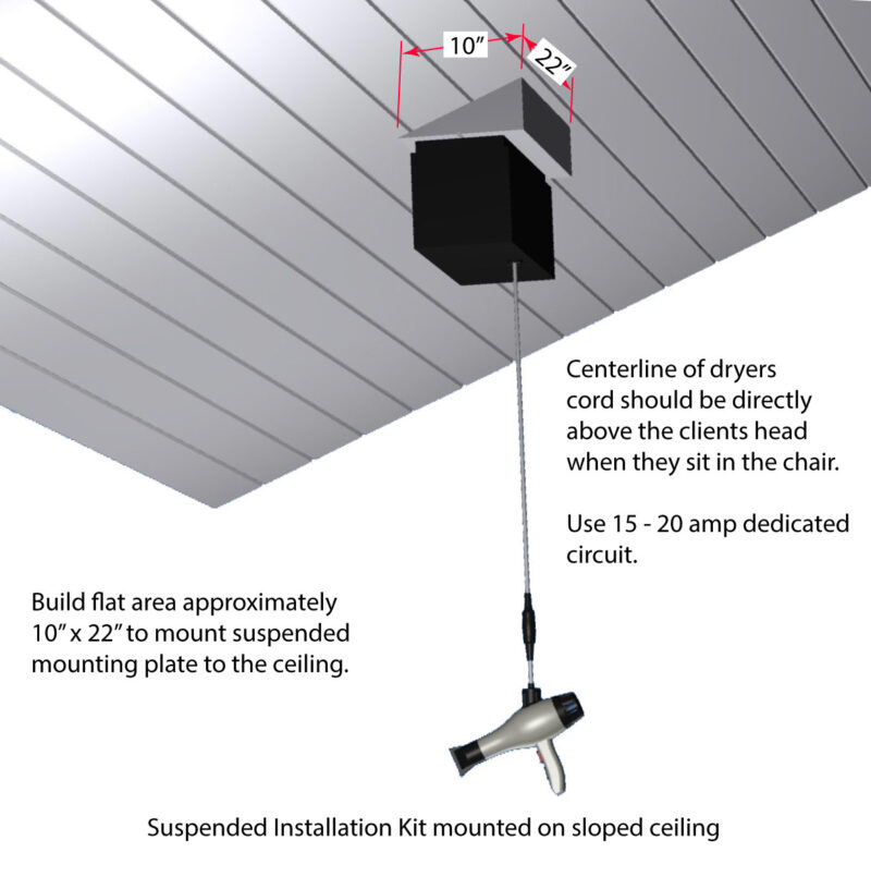 High ceiling hair dryer installation